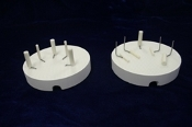 2 Round Firing Trays with 10 Metal pins and 5 Alumina Sleeves